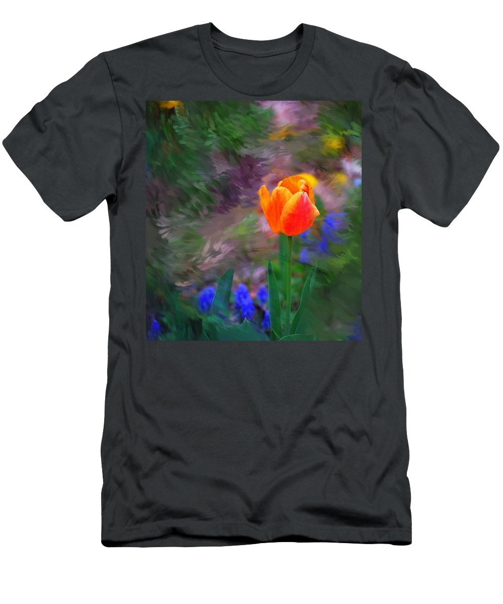 Floral T-Shirt featuring the digital art A tulip stands alone by David Lane