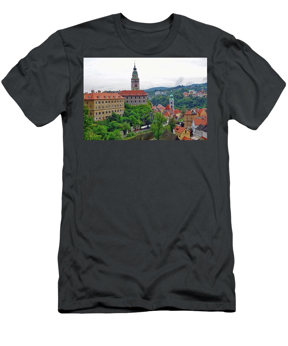 Cesky Krumlov Men's T-Shirt (Athletic Fit) featuring the photograph A View Of The Cesky Kromluv Castle Complex In The Czech Republic by Richard Rosenshein