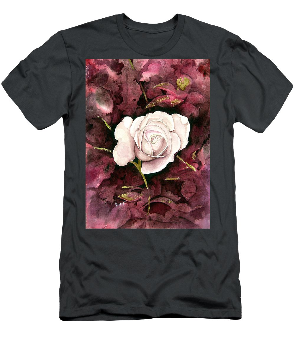 Flower T-Shirt featuring the painting A White Rose by Sam Sidders