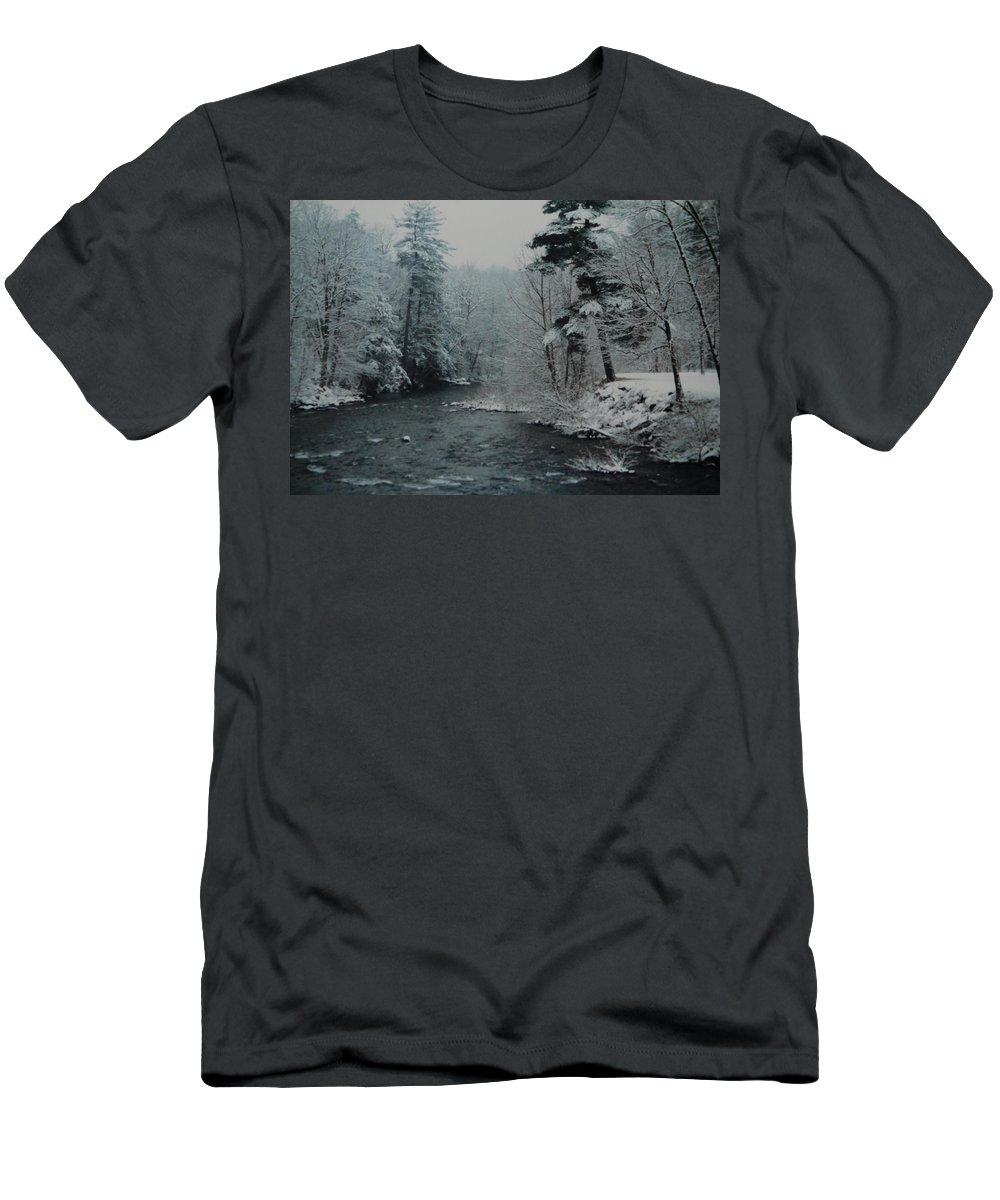 B&w Men's T-Shirt (Athletic Fit) featuring the photograph A Winter Waterland by Rob Hans