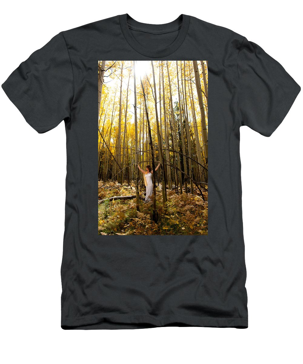 Aspen Men's T-Shirt (Athletic Fit) featuring the photograph A Woman In The Aspen by Scott Sawyer