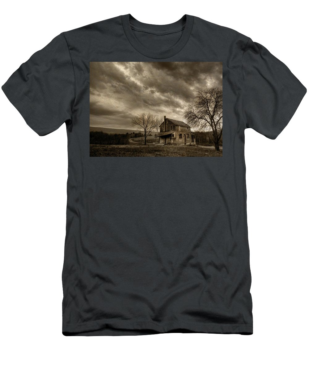 Dilapidated Men's T-Shirt (Athletic Fit) featuring the photograph Abandoned by Lori Deiter