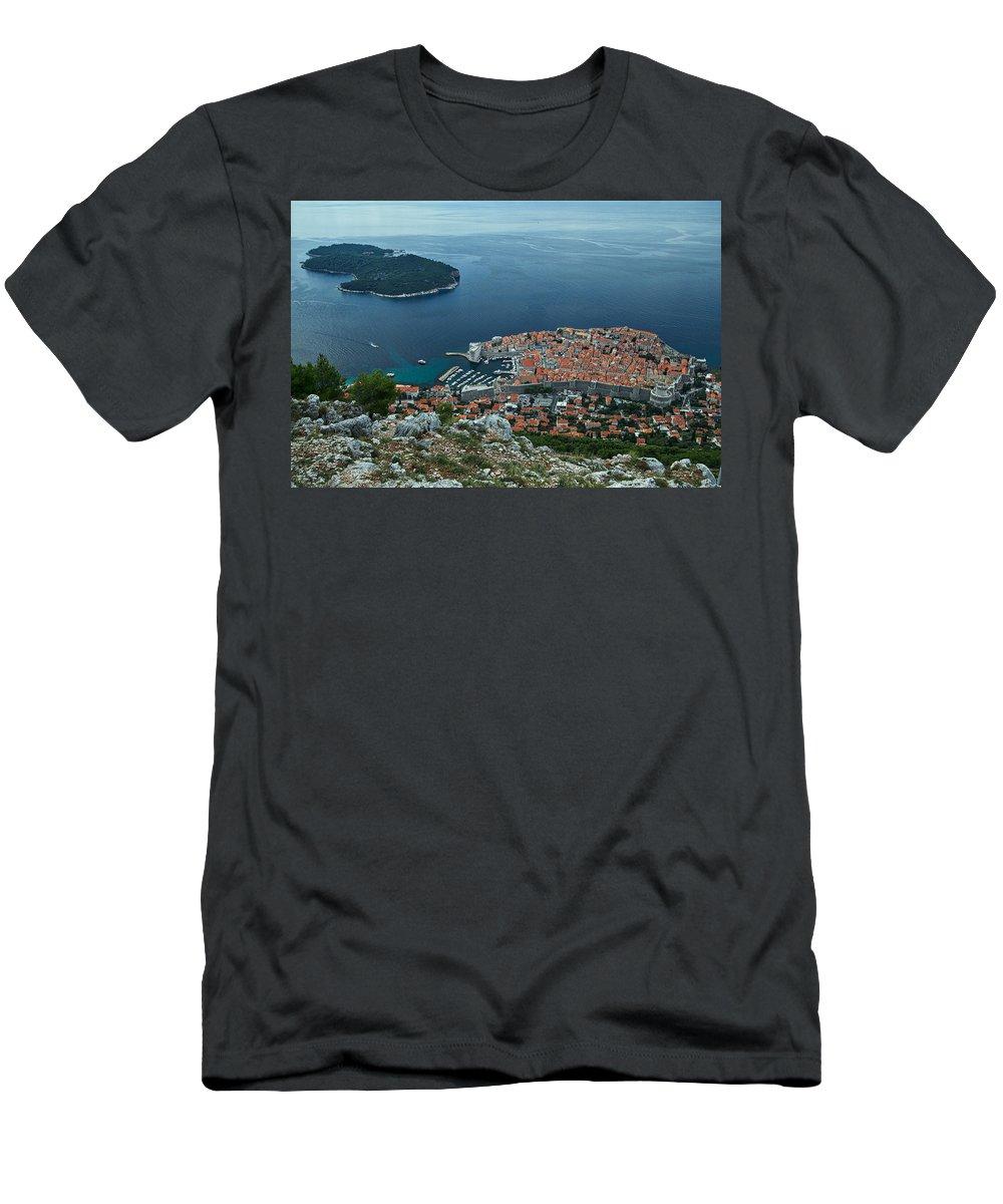Dubrovnik Men's T-Shirt (Athletic Fit) featuring the photograph Above Dubrovnik - Croatia by Stuart Litoff