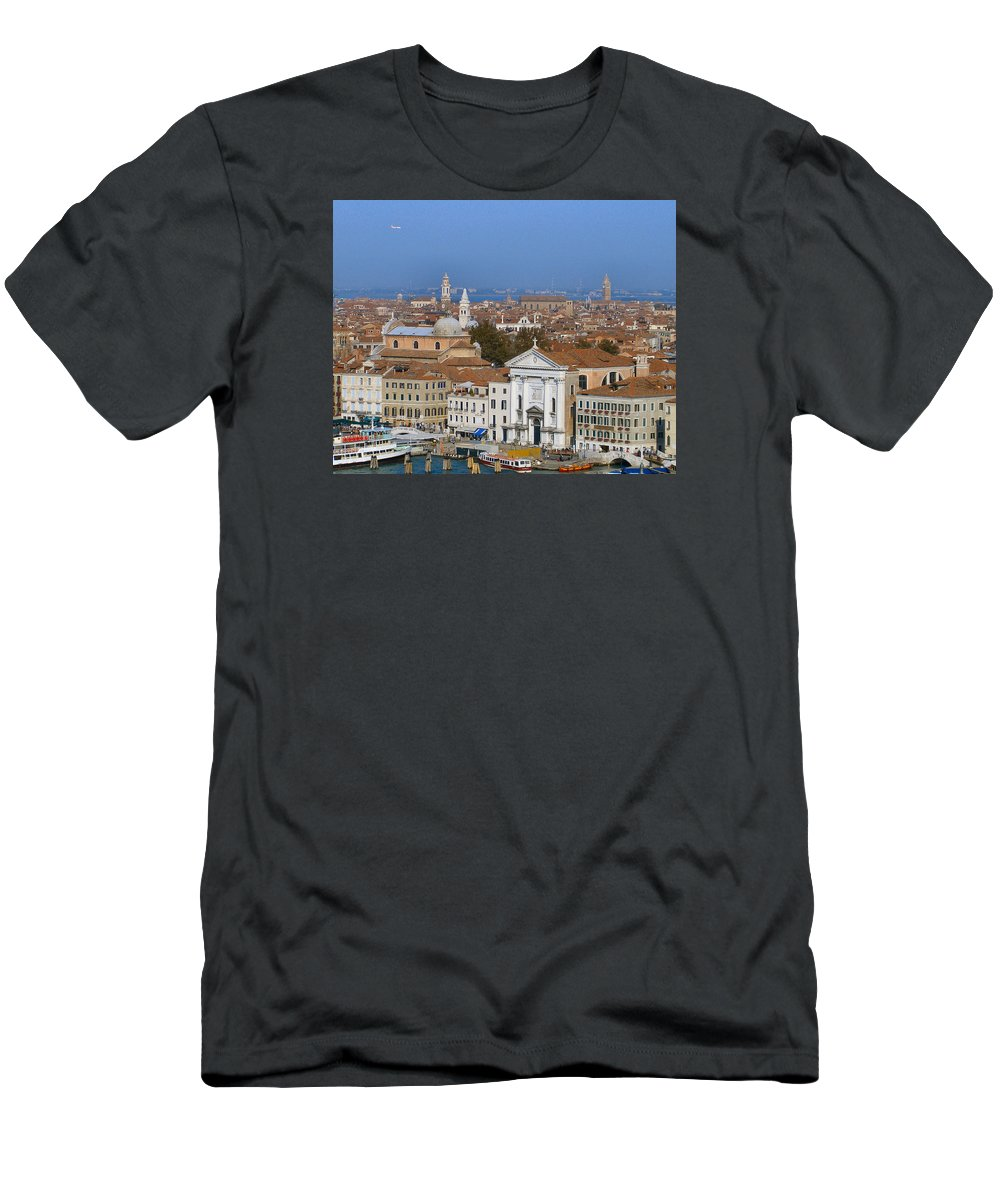 Venice Men's T-Shirt (Athletic Fit) featuring the photograph Above Venice by Lin Grosvenor