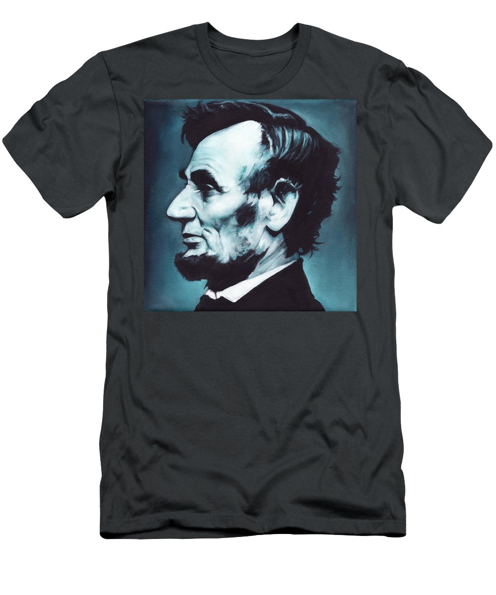 Abraham Lincoln Men's T-Shirt (Athletic Fit) featuring the painting Abraham Lincoln by Lorna Stephens
