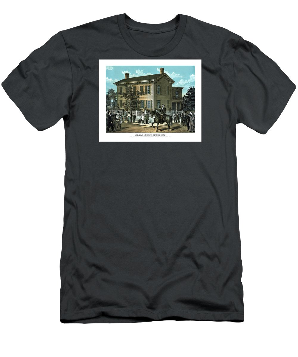 Abraham Lincoln Men's T-Shirt (Athletic Fit) featuring the painting Abraham Lincoln's Return Home by War Is Hell Store
