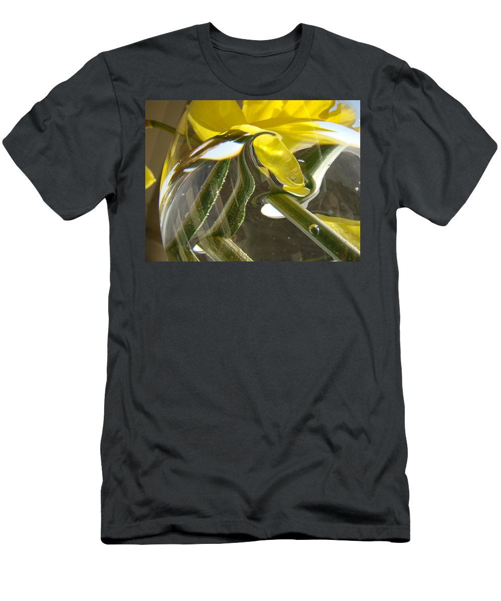 �daffodils Artwork� Men's T-Shirt (Athletic Fit) featuring the photograph Abstract Artwork Daffodils Flowers 1 Natural Abstract Art Prints Glass Vase Water Art Light Air by Baslee Troutman