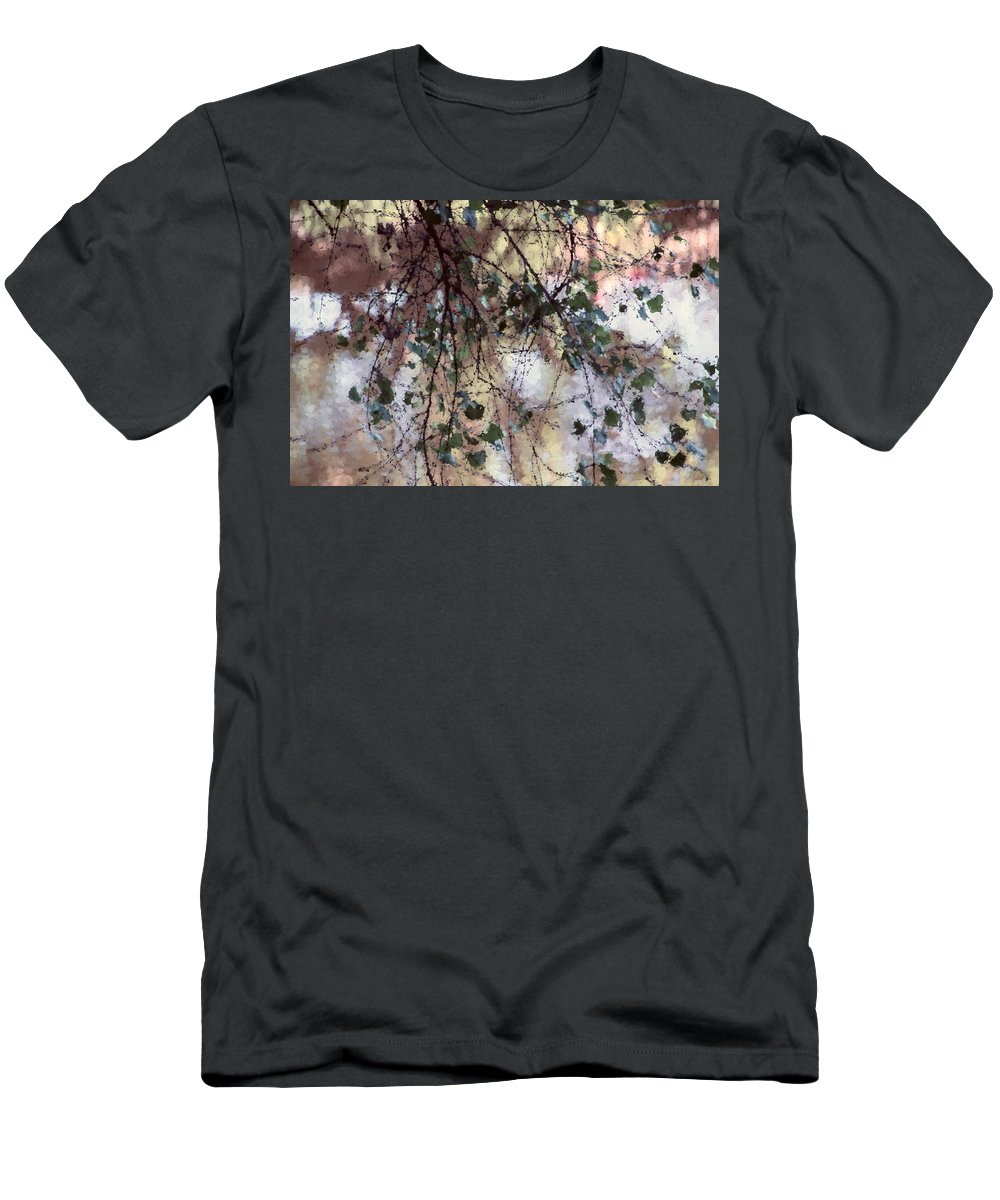 Leaves Men's T-Shirt (Athletic Fit) featuring the mixed media Abstract Birch by Terry Davis