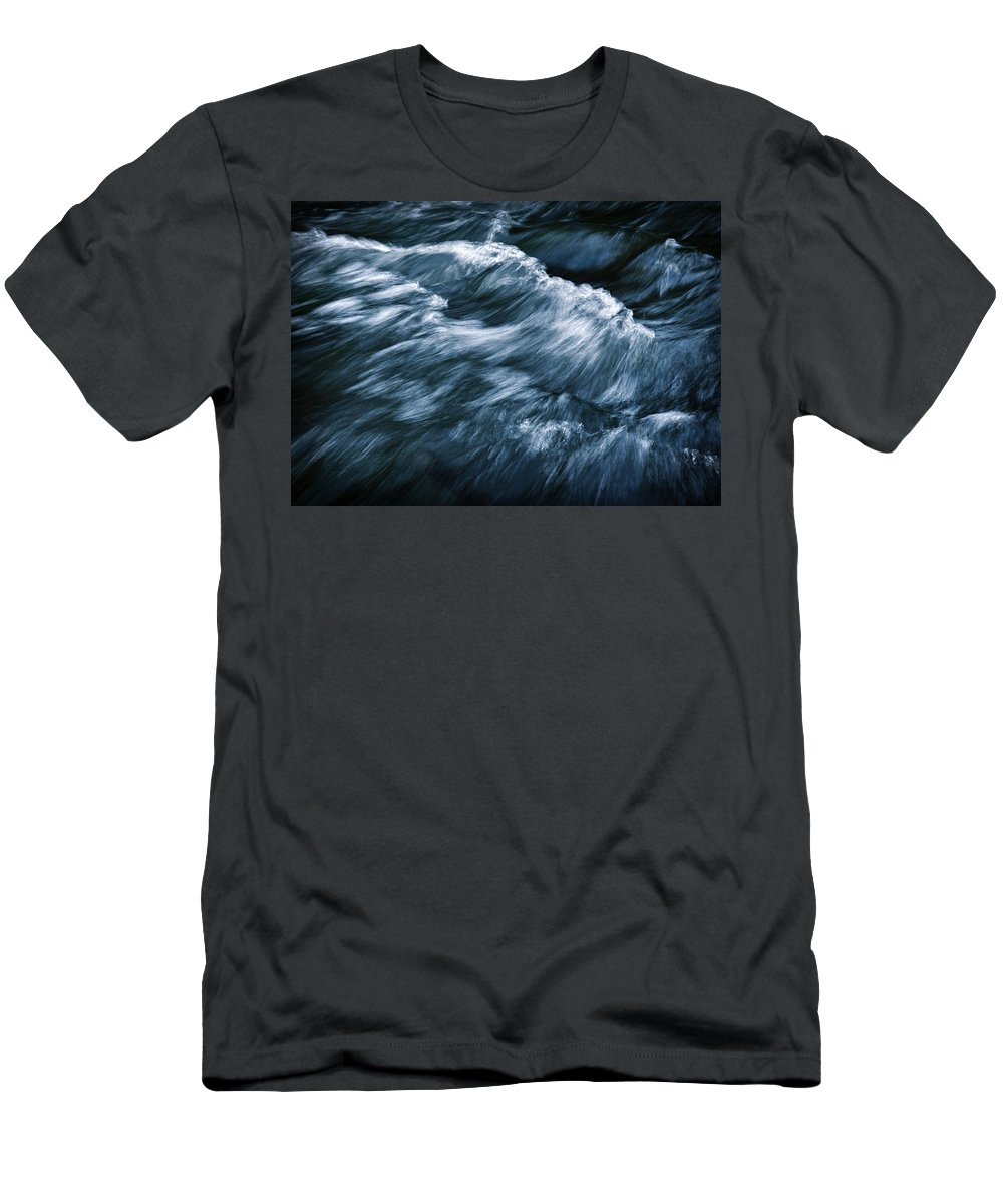 Weather Men's T-Shirt (Athletic Fit) featuring the photograph Abstract Dark Waves On The River by Jozef Jankola