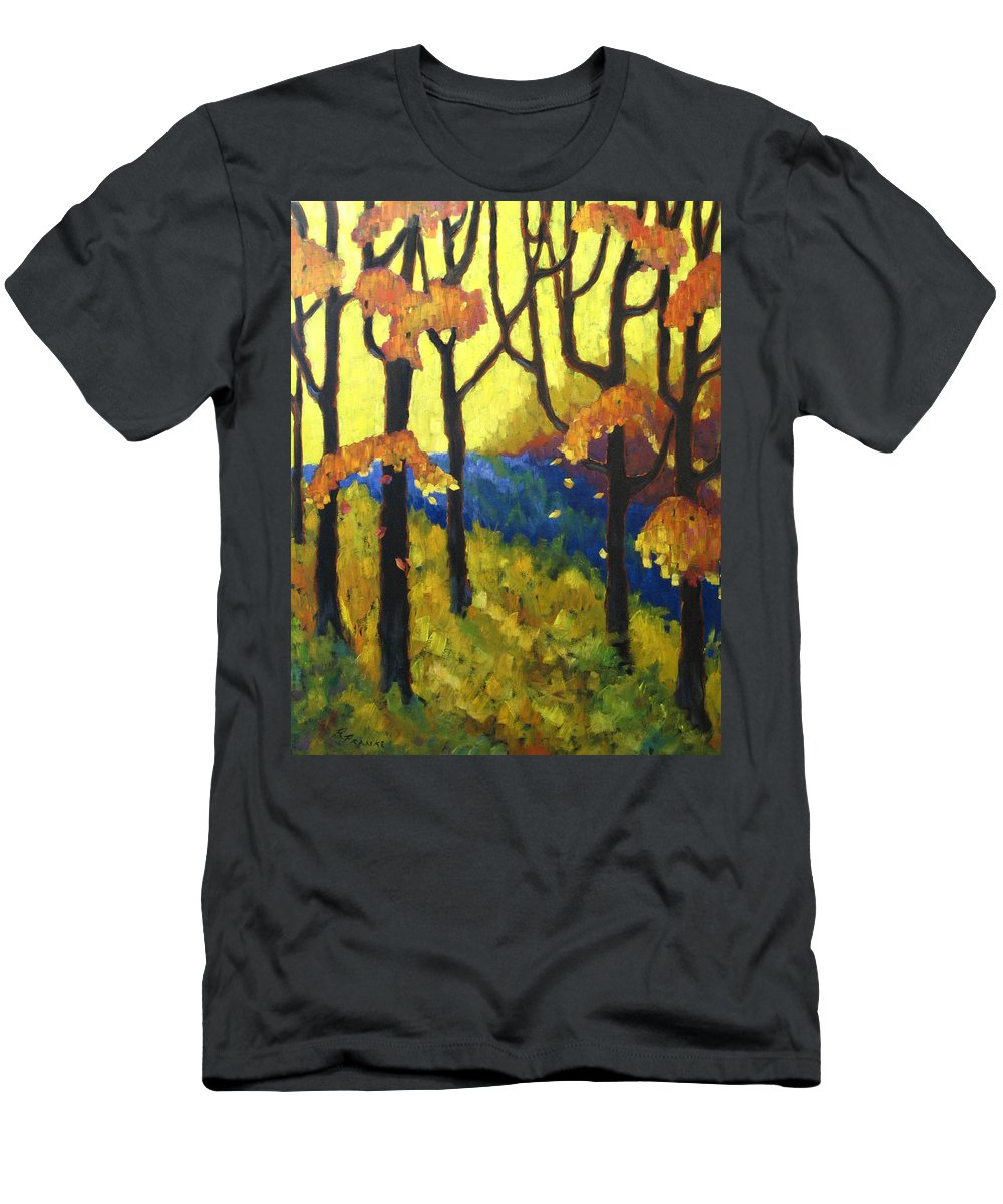 Art Men's T-Shirt (Athletic Fit) featuring the painting Abstract Forest by Richard T Pranke