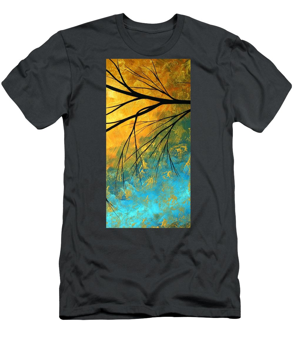 Abstract Men's T-Shirt (Athletic Fit) featuring the painting Abstract Landscape Art Passing Beauty 2 Of 5 by Megan Duncanson