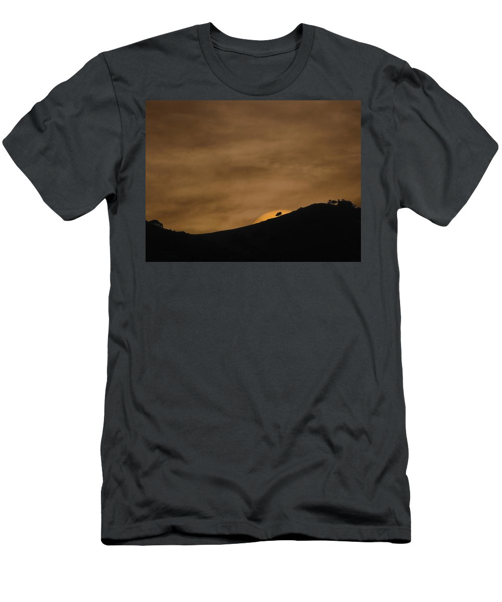 Landscapes Men's T-Shirt (Athletic Fit) featuring the photograph Abstract Sunset At Del Valle by Karen W Meyer