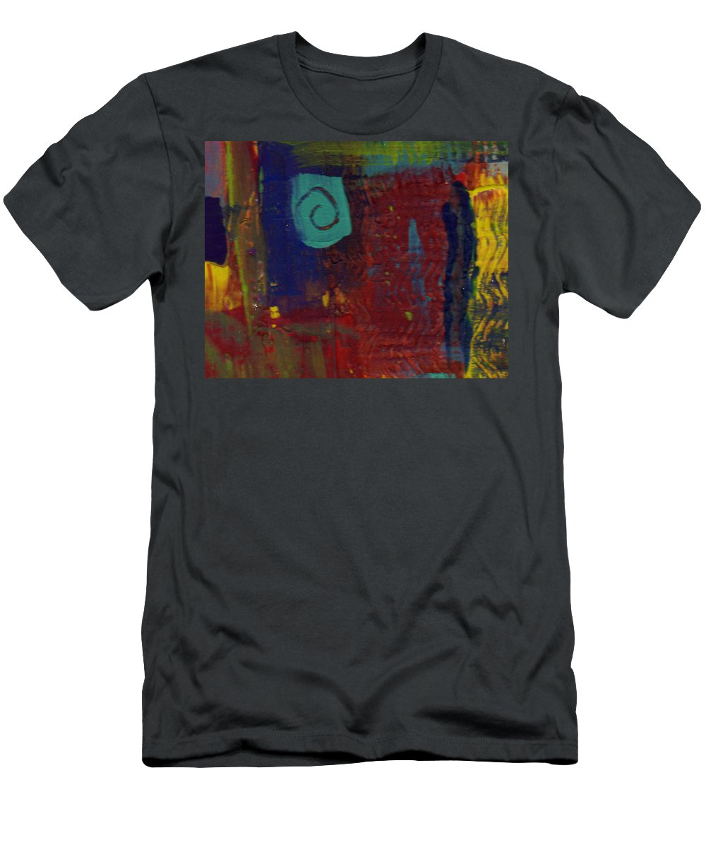 Abstract Men's T-Shirt (Athletic Fit) featuring the painting Abstract With Teal Spiral by Wayne Potrafka