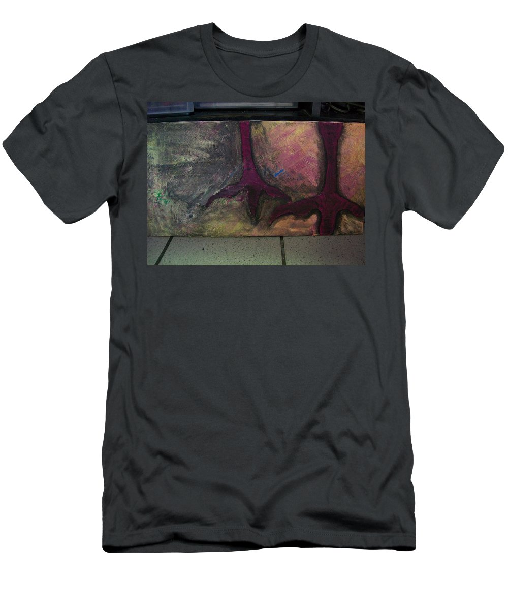 Crow Men's T-Shirt (Athletic Fit) featuring the painting Abstracty Crows Feet by Laurette Escobar