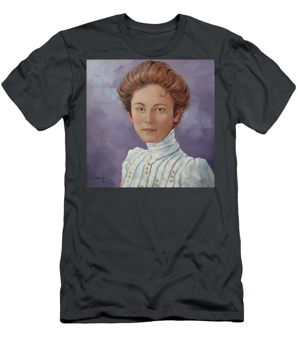 Posthumous Portrait Men's T-Shirt (Athletic Fit) featuring the painting Ada Douglas by Jerrold Carton