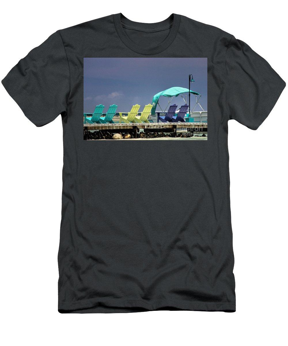Adirondack Men's T-Shirt (Athletic Fit) featuring the photograph Adirondack Chairs At Coyaba Mahoe Bay Jamaica. by John Edwards