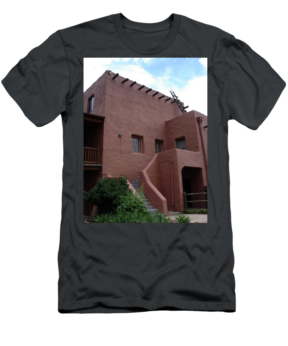 Santa Fe Men's T-Shirt (Athletic Fit) featuring the photograph Adobe House At Red Rocks Colorado by Merja Waters
