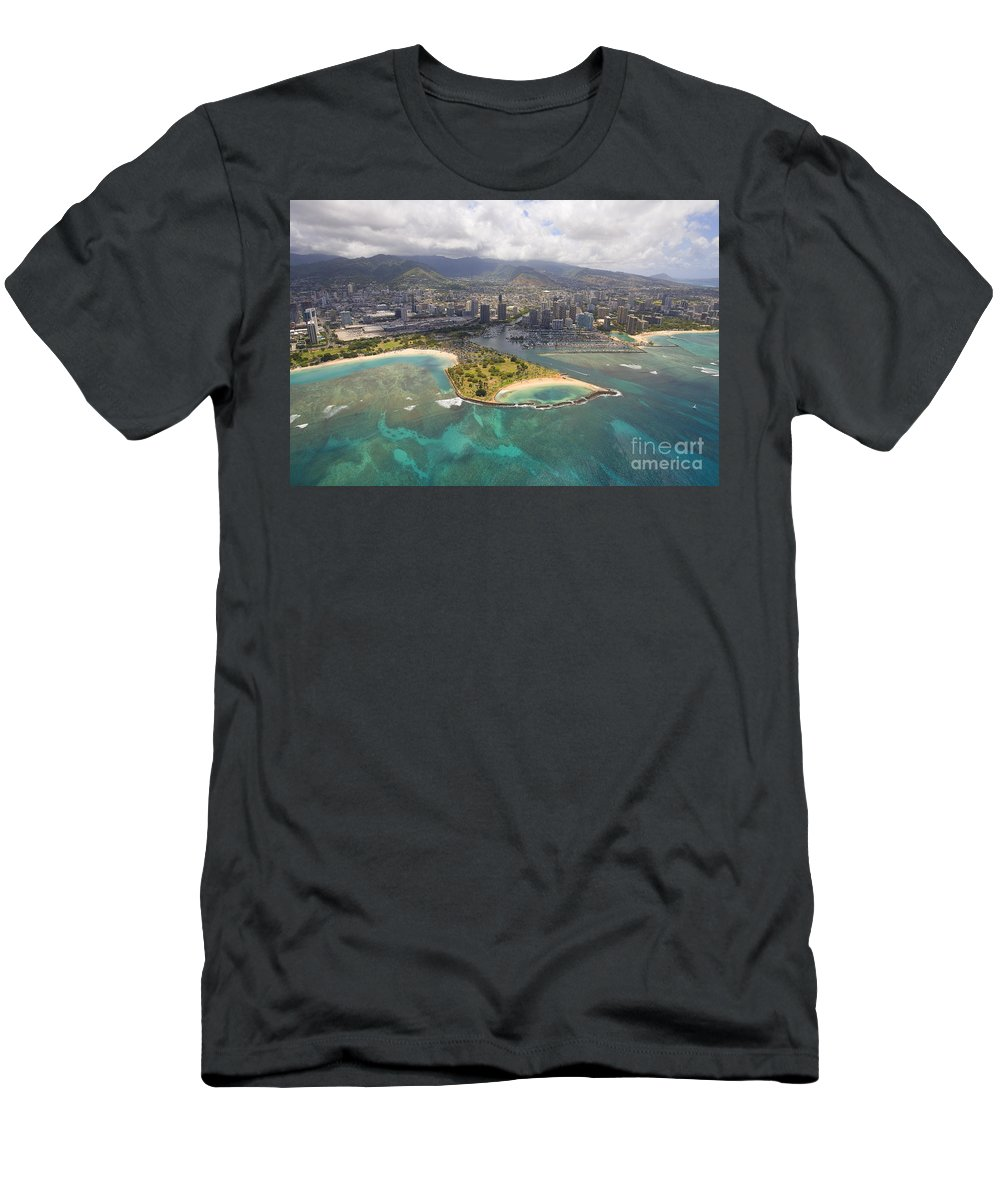 Above Men's T-Shirt (Athletic Fit) featuring the photograph Aerial Of Magic Island by Ron Dahlquist - Printscapes