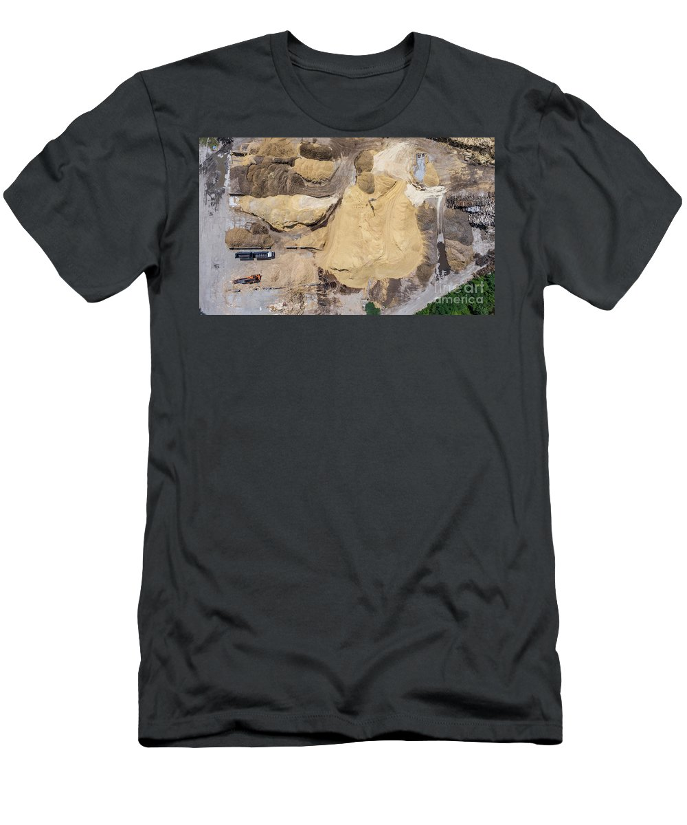 Above Men's T-Shirt (Athletic Fit) featuring the photograph Aerial View Over The Sandpit. Industrial Place In Poland. by Mariusz Prusaczyk