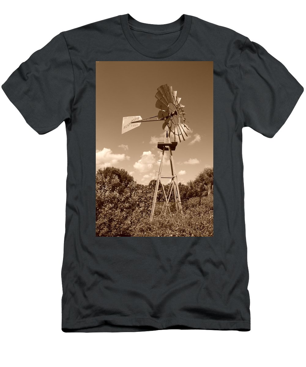 Sepia Men's T-Shirt (Athletic Fit) featuring the photograph Aermotor Windmill by Rob Hans