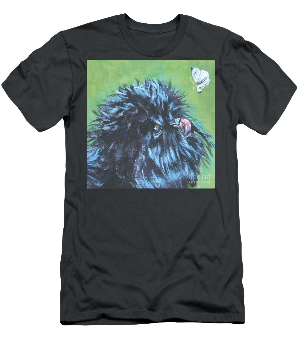 Dog Men's T-Shirt (Athletic Fit) featuring the painting Affenpinscher With Butterfly by Lee Ann Shepard