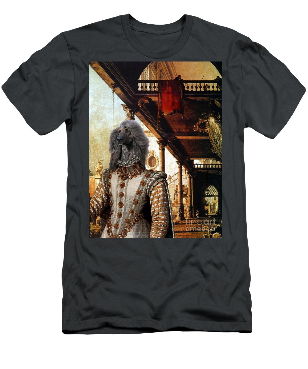 Afghan Hound Canvas Men's T-Shirt (Athletic Fit) featuring the painting Afghan Hound-capriccio Of Colonade And The Courtyard Of A Palace Canvas Fine Art Print by Sandra Sij