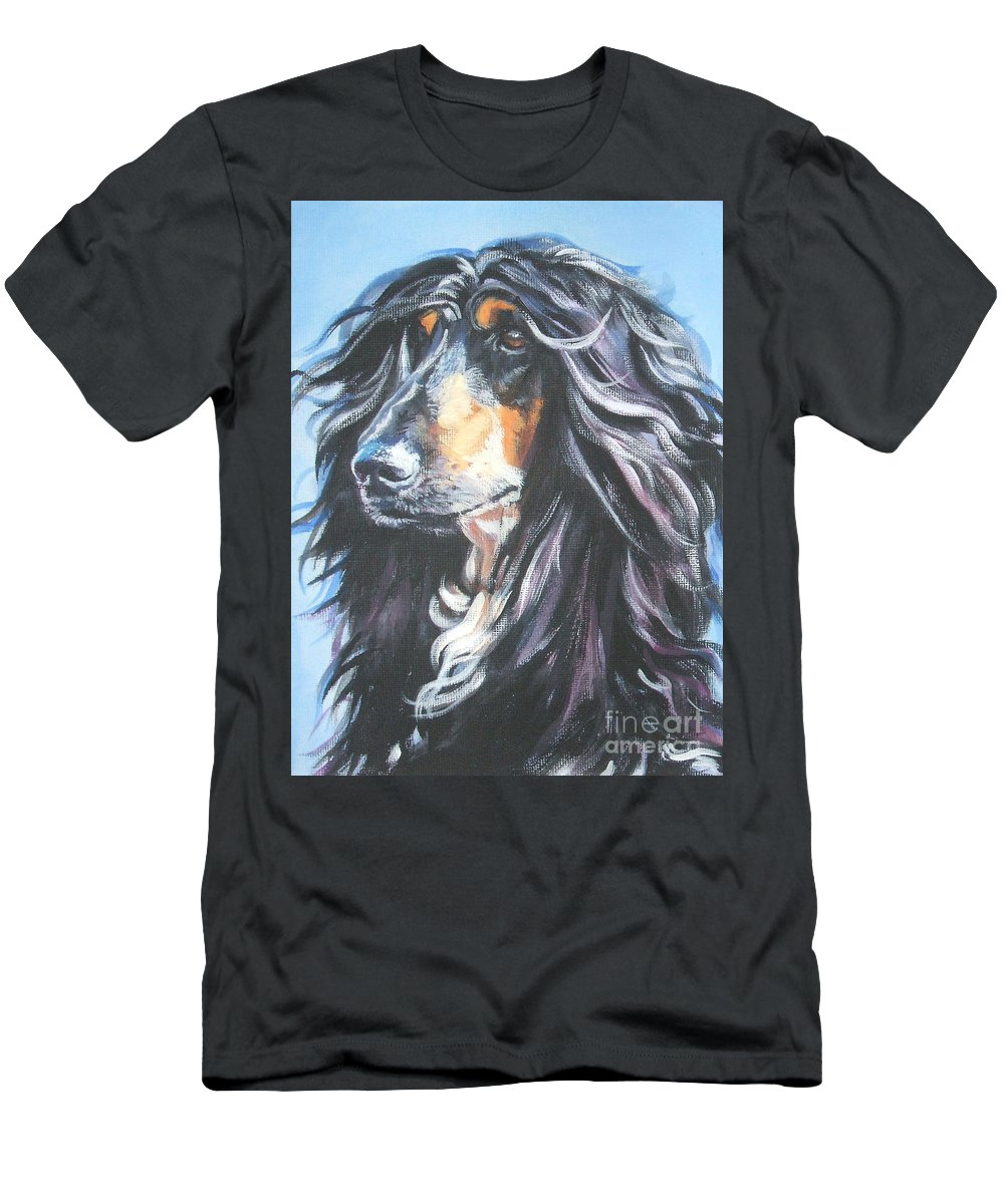 Dog Men's T-Shirt (Athletic Fit) featuring the painting Afghan Portrait by Lee Ann Shepard