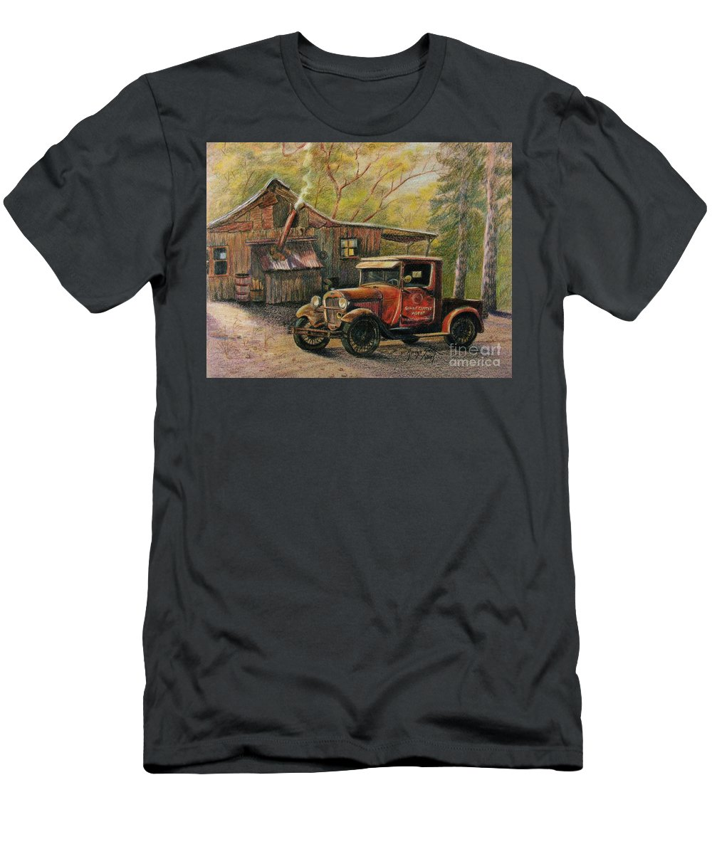 Old Trucks Men's T-Shirt (Athletic Fit) featuring the drawing Agent's Visit by Marilyn Smith