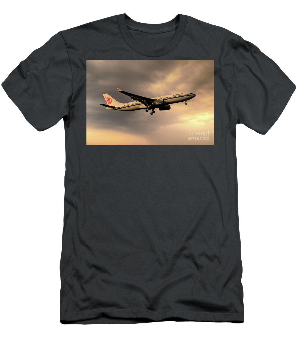 Airbus A330 Men's T-Shirt (Athletic Fit) featuring the digital art Air China A330 B-6132 by J Biggadike