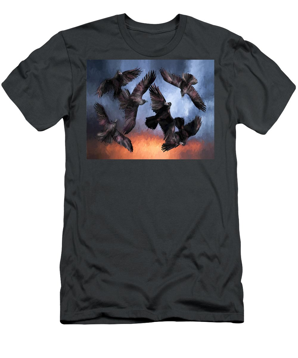 Fine Art Men's T-Shirt (Athletic Fit) featuring the painting Airborne Unkindness by David Wagner