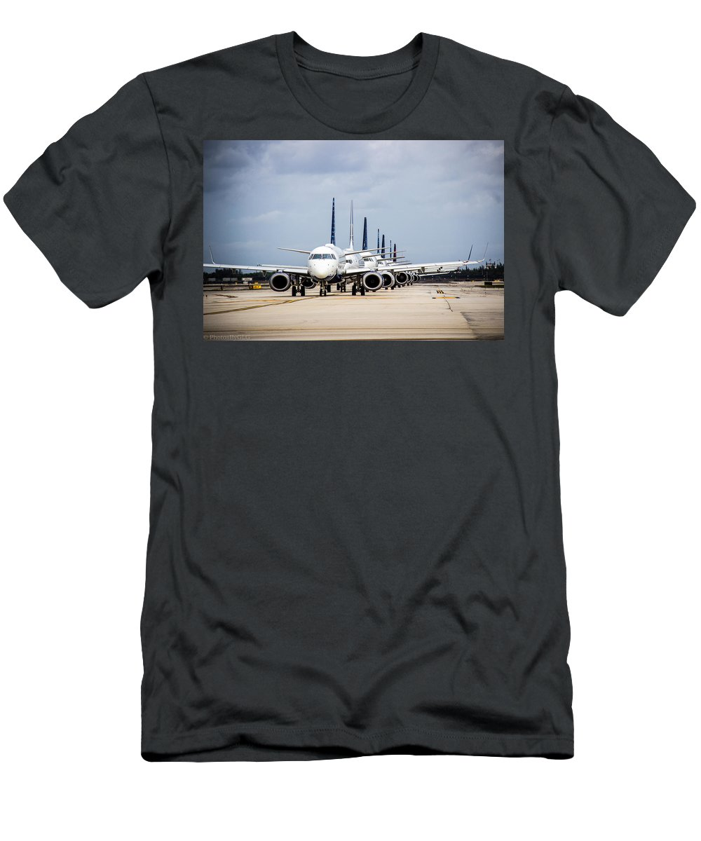 Air Men's T-Shirt (Athletic Fit) featuring the photograph Airport Runway Stacked Up by Gregory Gendusa