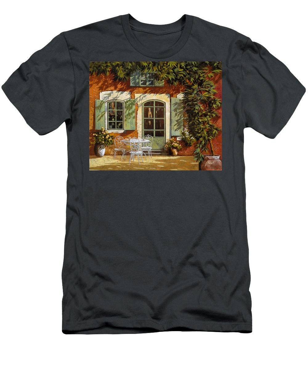 Landscape Men's T-Shirt (Athletic Fit) featuring the painting Al Fresco In Cortile by Guido Borelli