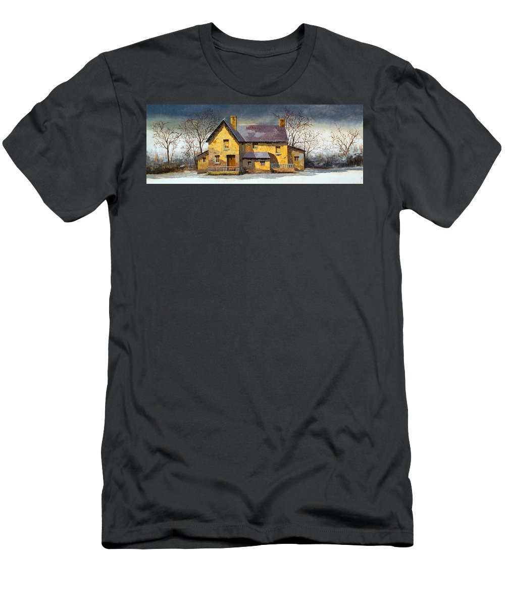 Landscape Men's T-Shirt (Athletic Fit) featuring the painting Al Mattino by Guido Borelli