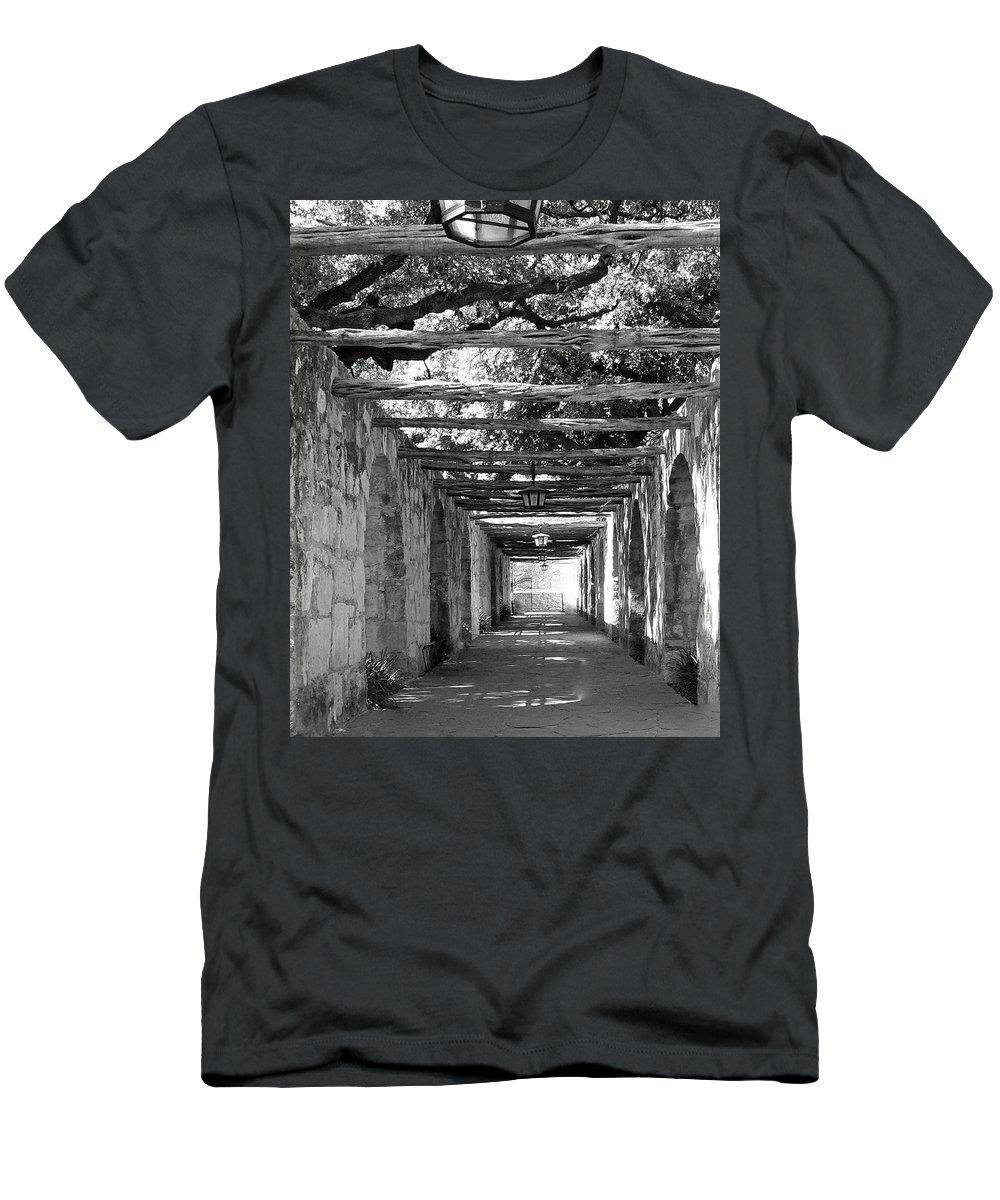 Alamo Corridor Men's T-Shirt (Athletic Fit) featuring the photograph Alamo Corridor by Debbie Karnes