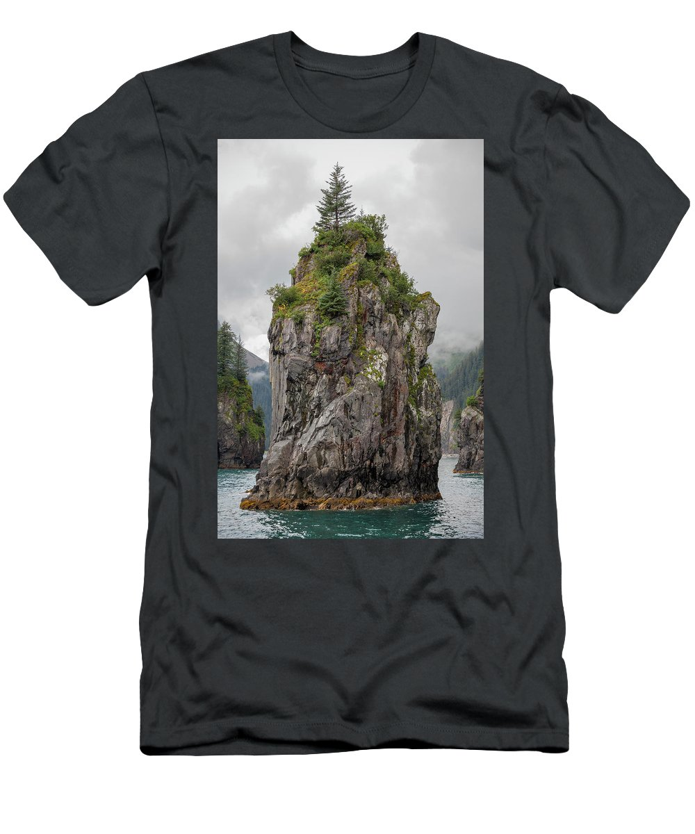 Alaska Men's T-Shirt (Athletic Fit) featuring the photograph Alaska Sea Stack by Scott Slone