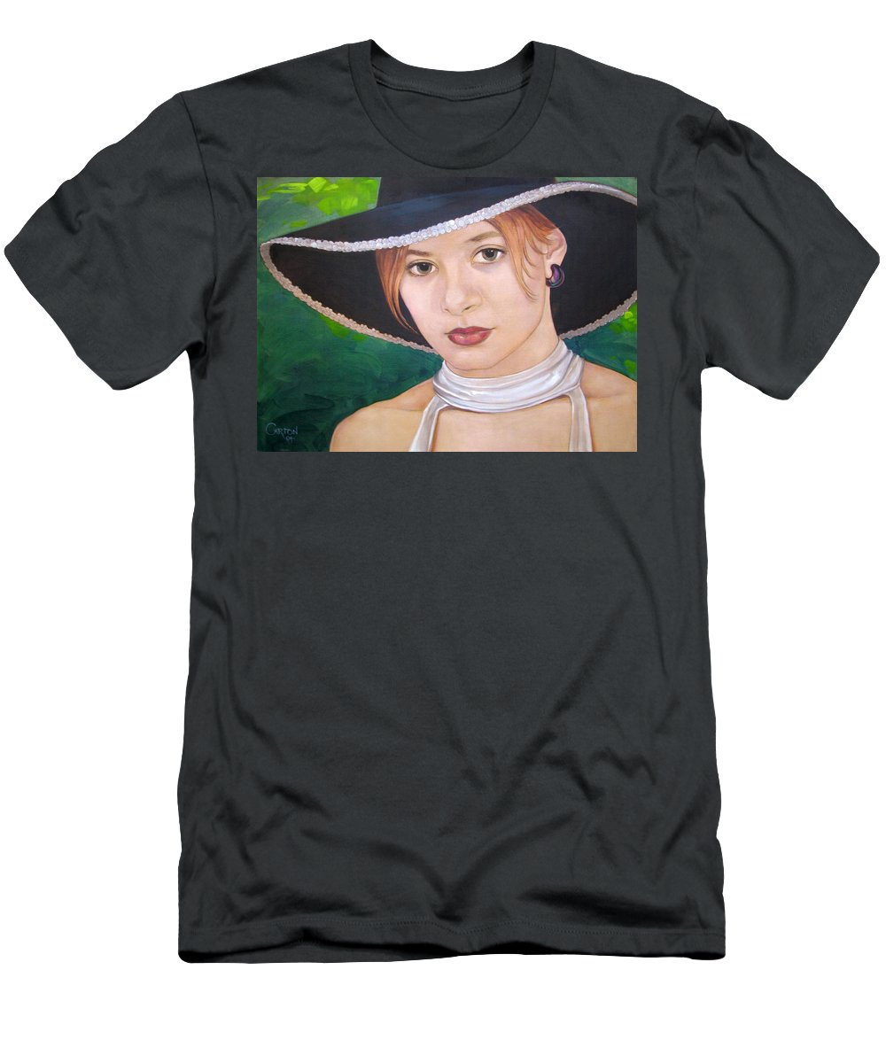 Pretty Girl Men's T-Shirt (Athletic Fit) featuring the painting Alexis by Jerrold Carton