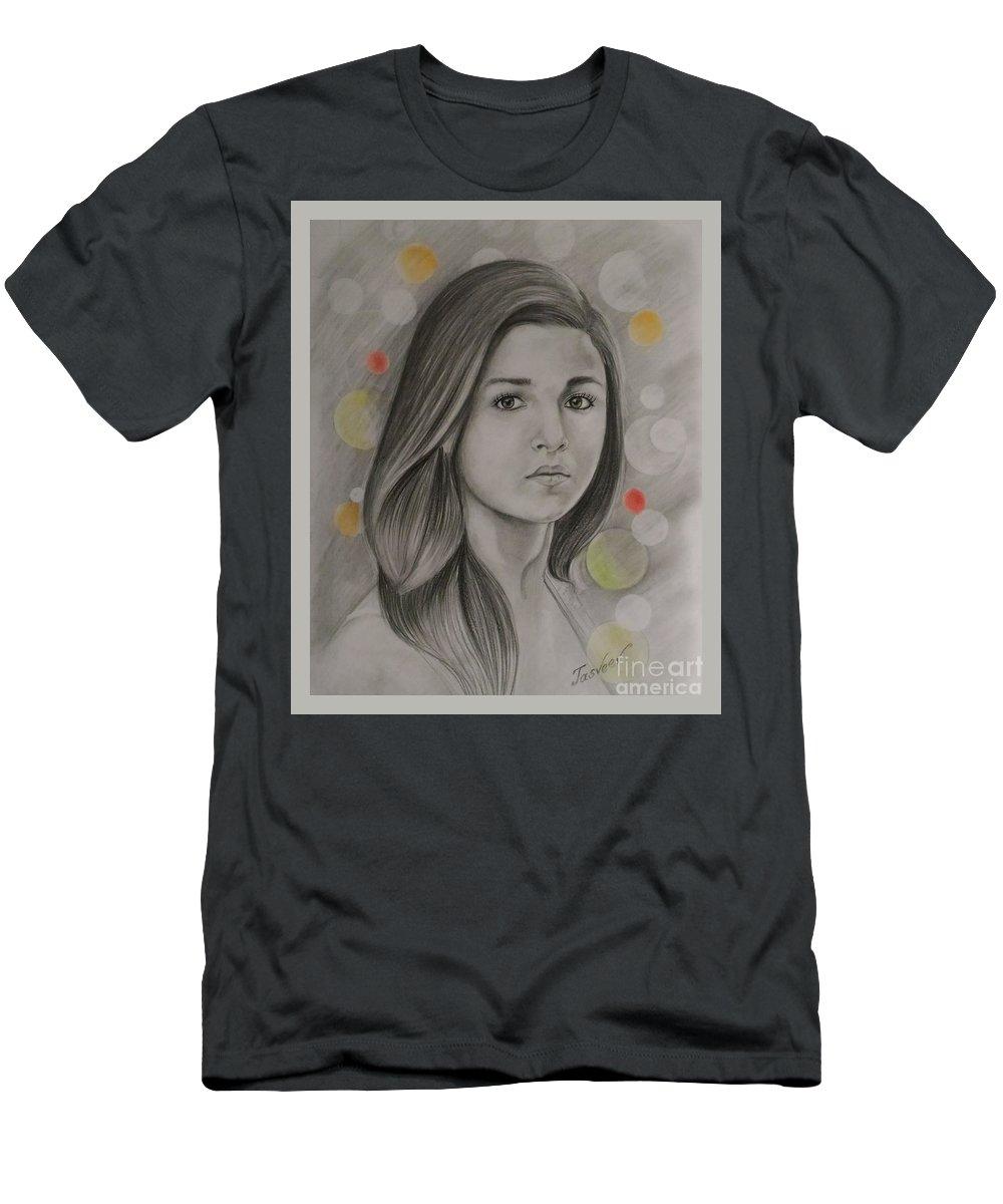 Portrait Of Alia Bhatt Men's T-Shirt (Athletic Fit) featuring the pastel Alia Bhatt by Jitendra Rtist