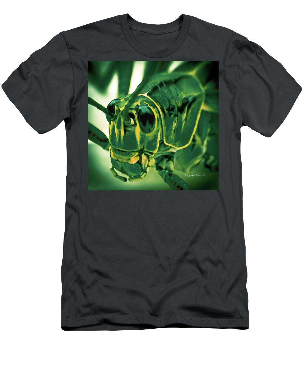 Grasshopper Men's T-Shirt (Athletic Fit) featuring the photograph Alien by DigiArt Diaries by Vicky B Fuller