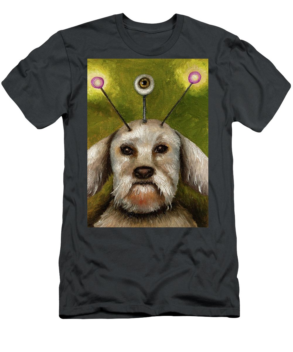 Dog Men's T-Shirt (Athletic Fit) featuring the painting Alien Dog by Leah Saulnier The Painting Maniac