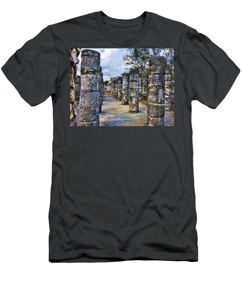 Columns Men's T-Shirt (Athletic Fit) featuring the photograph Alignment by Douglas Barnard