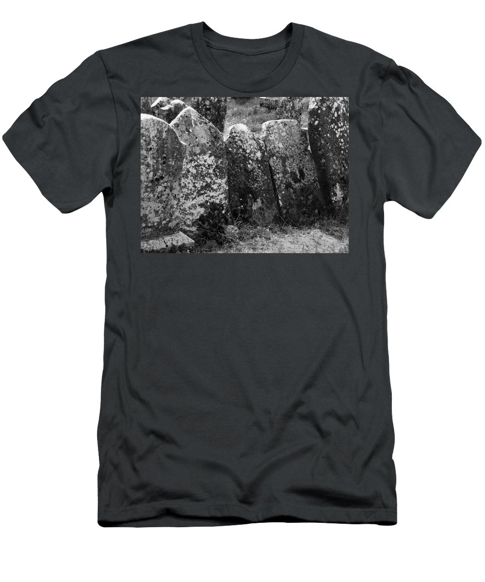 Ireland Men's T-Shirt (Athletic Fit) featuring the photograph All In A Row At Fuerty Cemetery Roscommon Ireland by Teresa Mucha