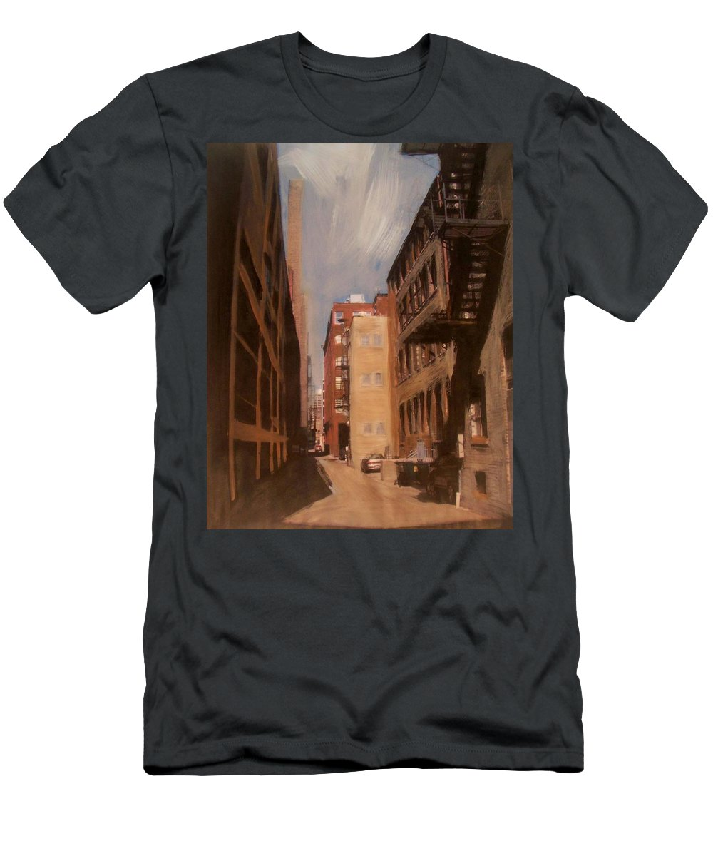 Alley Men's T-Shirt (Athletic Fit) featuring the mixed media Alley Series 1 by Anita Burgermeister