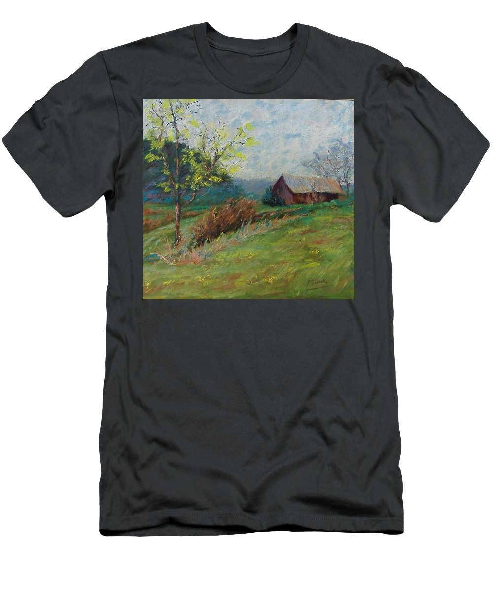 Landscape Men's T-Shirt (Athletic Fit) featuring the pastel Almost Spring by Pat Snook