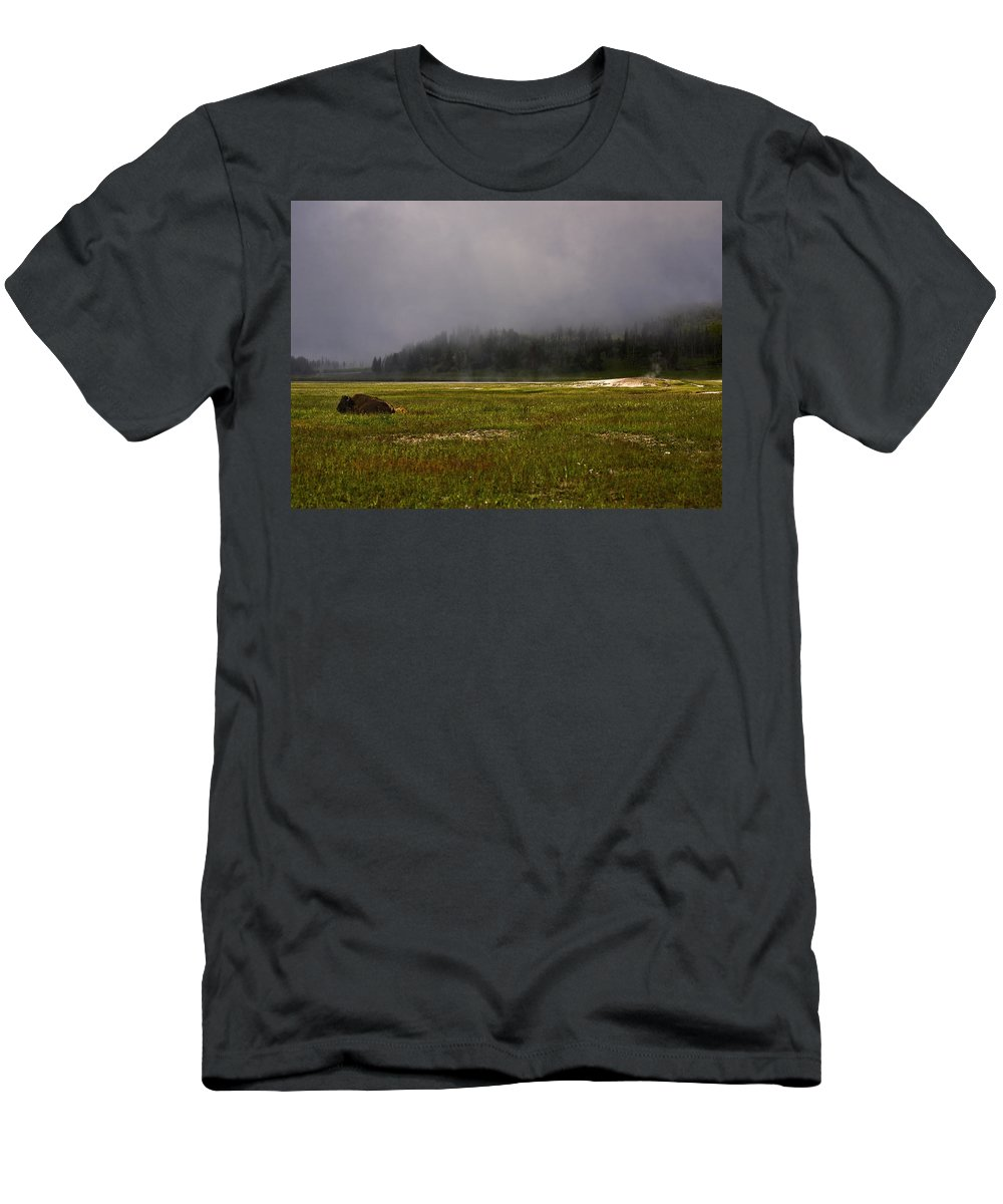 Nature Men's T-Shirt (Athletic Fit) featuring the photograph Alone In Fog by John K Sampson