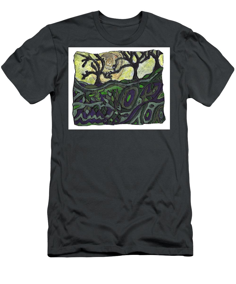 Woods Men's T-Shirt (Athletic Fit) featuring the painting Alone In The Woods by Wayne Potrafka