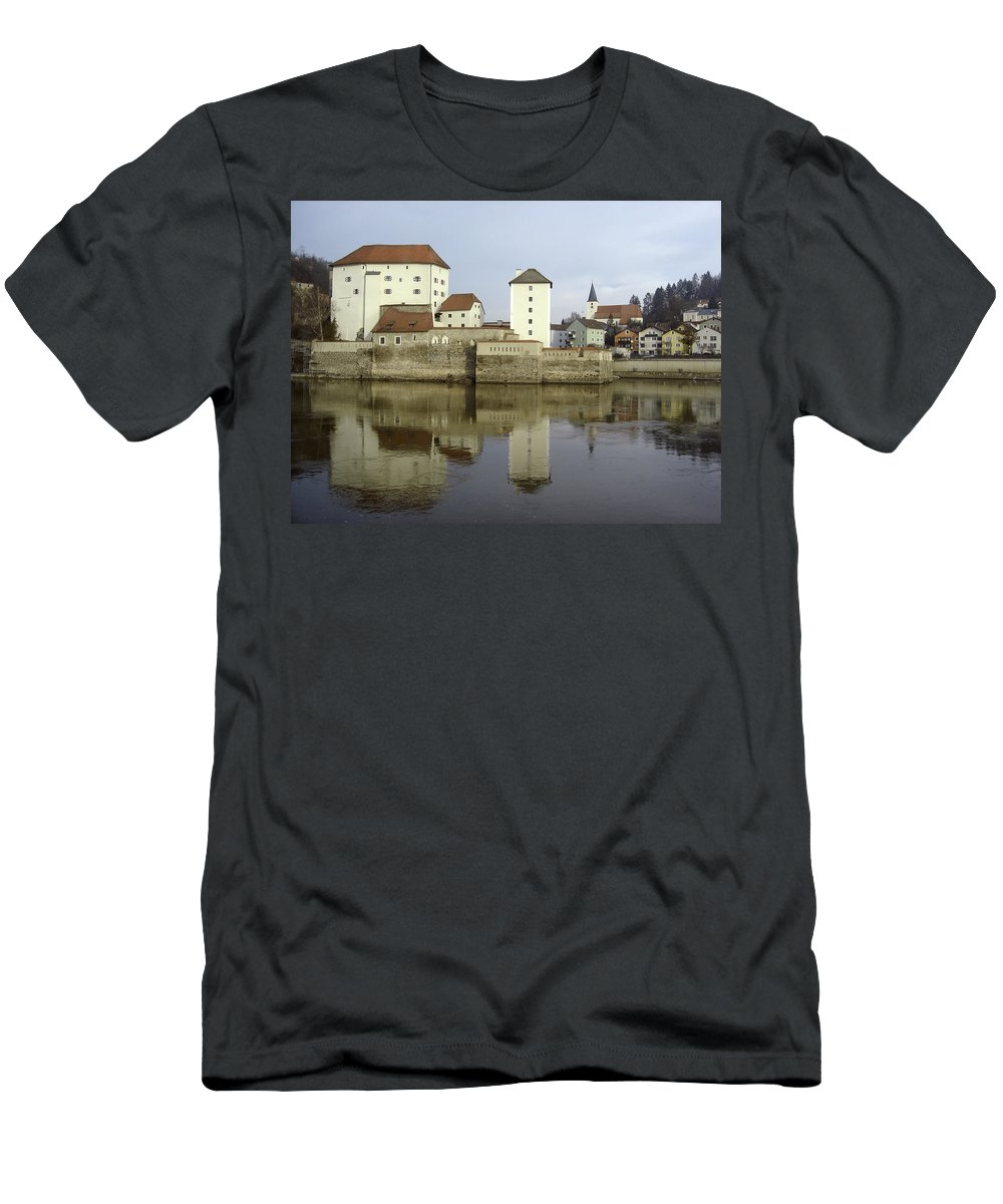 River Men's T-Shirt (Athletic Fit) featuring the photograph Along The Danube by Mary Rogers