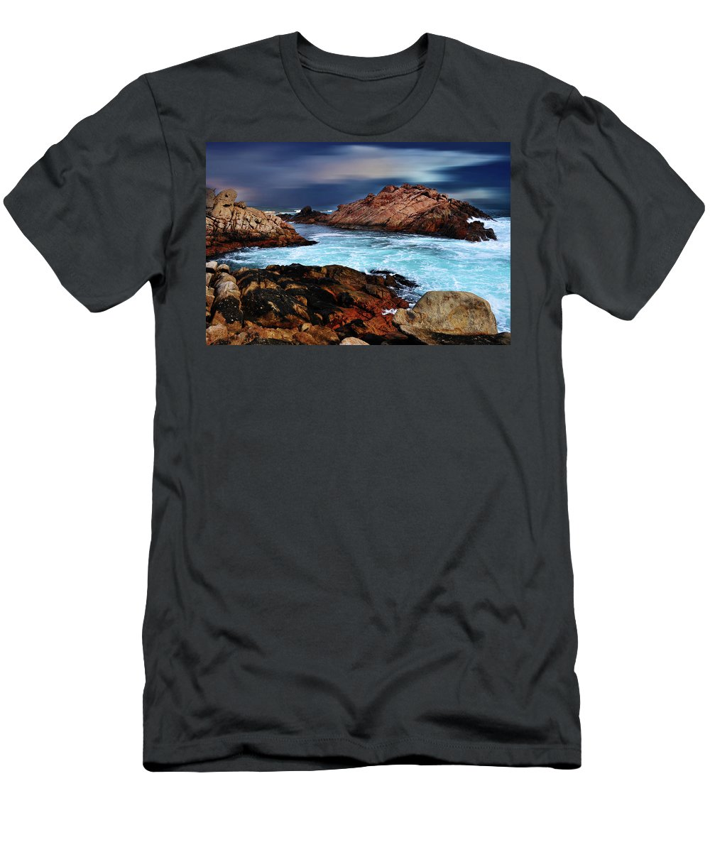 Landscapes Men's T-Shirt (Athletic Fit) featuring the photograph Amazing Coast by Phill Petrovic