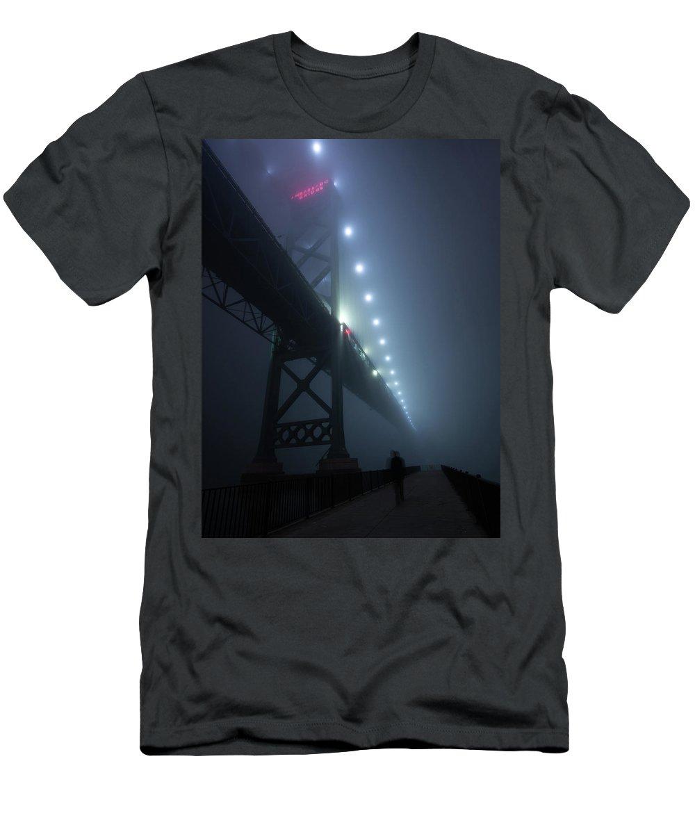 Ambassador Bridge Men's T-Shirt (Athletic Fit) featuring the photograph Ambassador Bridge In Fog by Cale Best