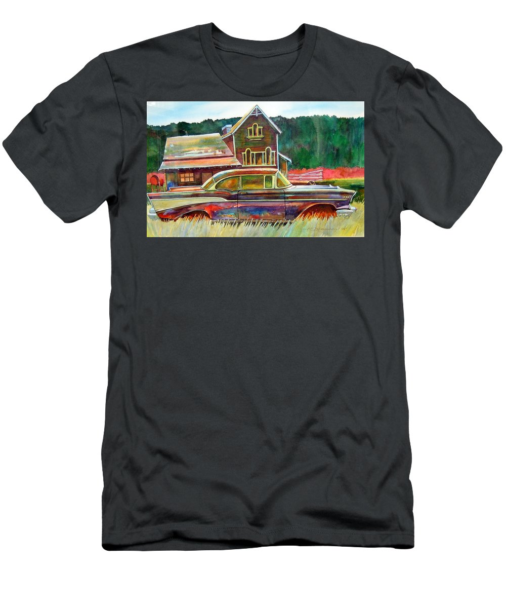 57 Chev Men's T-Shirt (Athletic Fit) featuring the painting American Heritage by Ron Morrison