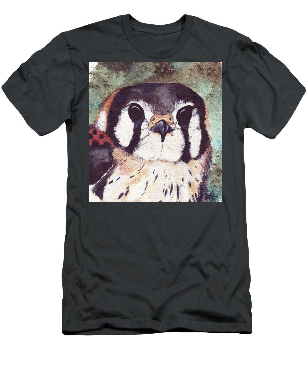 Raptor Men's T-Shirt (Athletic Fit) featuring the painting American Kestrel by Debra Sandstrom